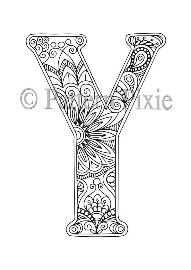 Adult Colouring Page Alphabet Letter Y Coloring Letters
