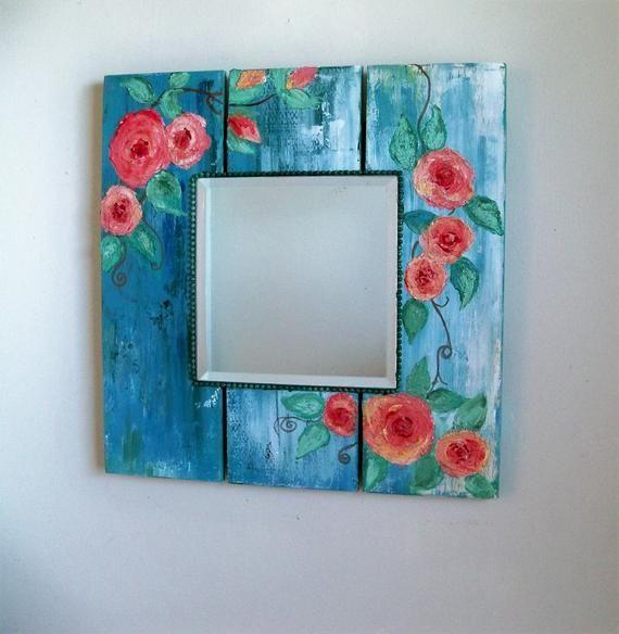 Boho Rustic Mirror Shabby Chic Bedroom Decor Square Pallet