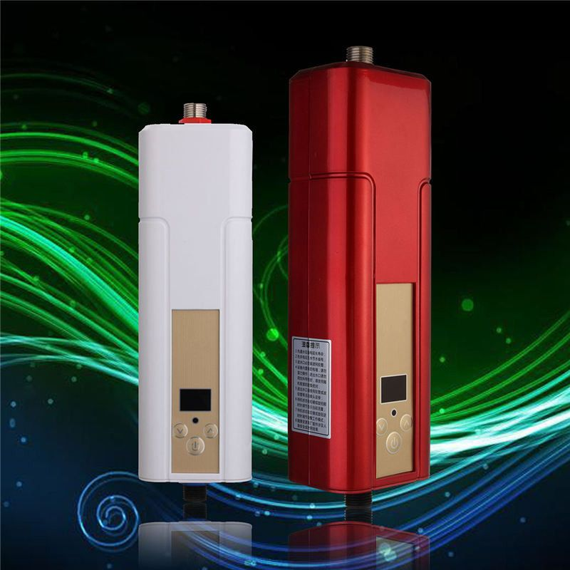 5500w Household Tankless Water Heater Tap Electric Water Heater Instant Shower For Kitchen Bathroom Two Color Red Or White Durchlauferhitzer Wasserhahn Rot Farbe