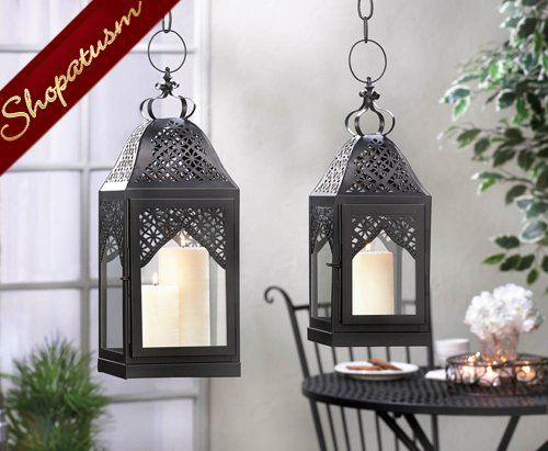 12 Wholesale Lanterns Medium Centerpiece Black Filigree Lanterns Bulk Lot Candle Holders Wedding Candle Lanterns Hanging Candle Lanterns