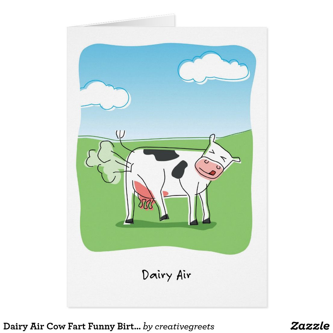 Dairy Air Cow Fart Funny Birthday Card Funny Birthday Dairy And Cow