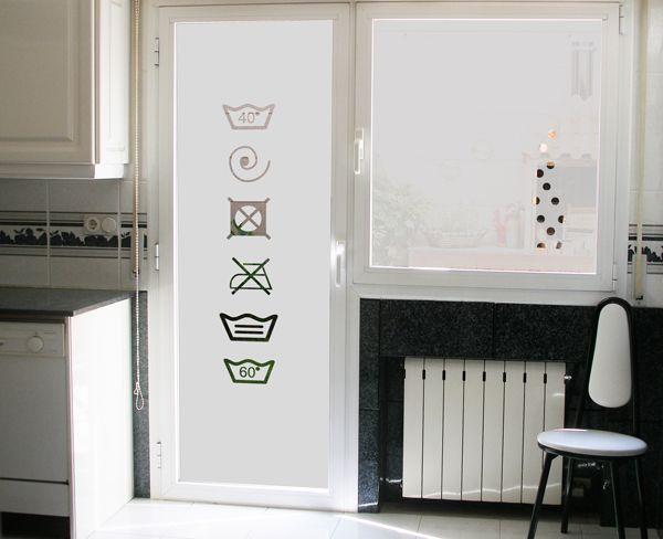 Vinilo para puerta de cristal de la cocina que da al for Puerta lavadero