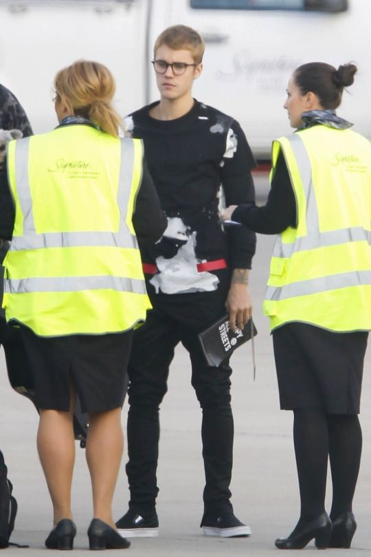 October 10: [More] Justin seen at Luton Airport in Bedfordshire, England.