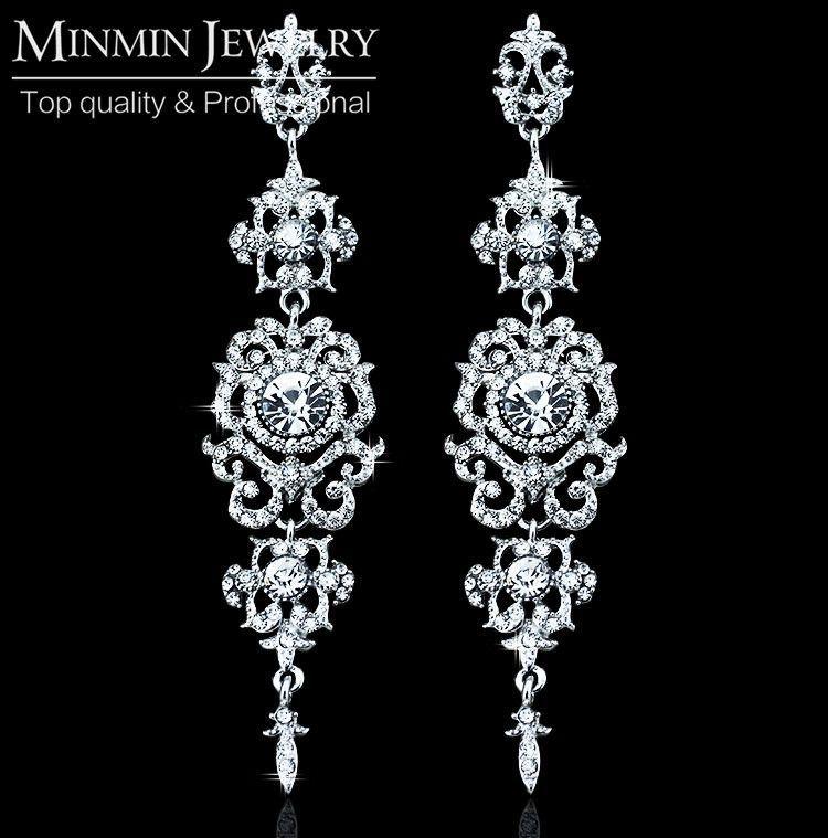 Diamante Bridal Jewellery Set White & Gold Drop Earrings Necklace, Bracelet