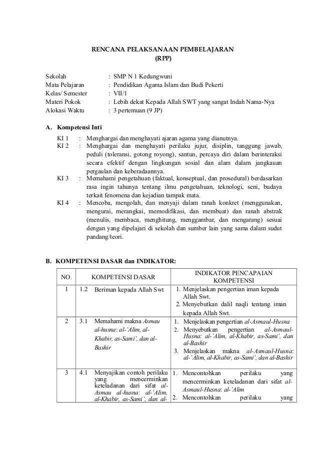 Rpp Quran Hadits Mts Kelas 8 Semester 1 Kurikulum 2013