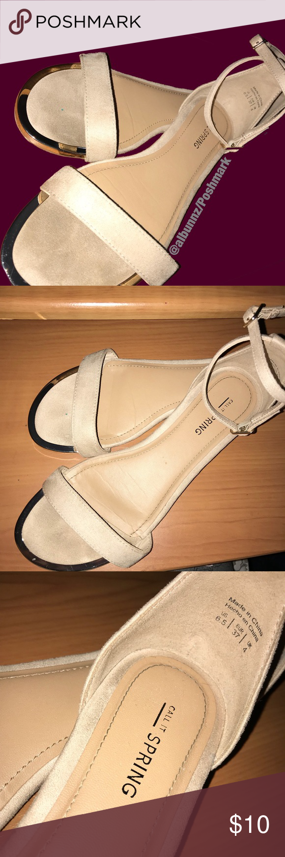 Nude Strap Toe Sandals The Top Of Shoe Is Suede Material And T Inside Heels Karen Khaky 37 Rest