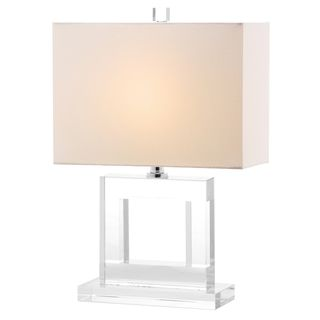 Safavieh Indoor 1 Light Town White Shade Square Crystal Table Lamp