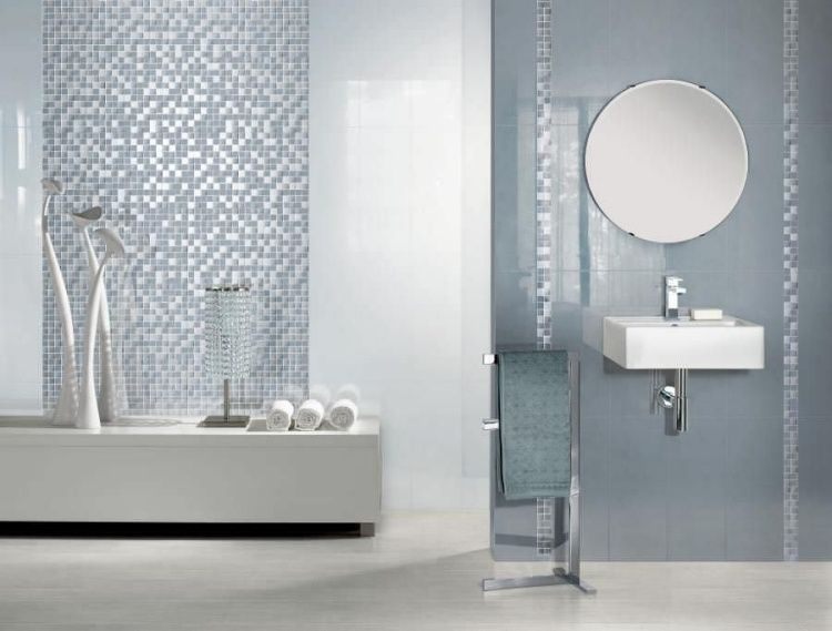 carrelage mosa que dans la salle de bains 30 id es modernes gris clair mosaique et salle de bains. Black Bedroom Furniture Sets. Home Design Ideas