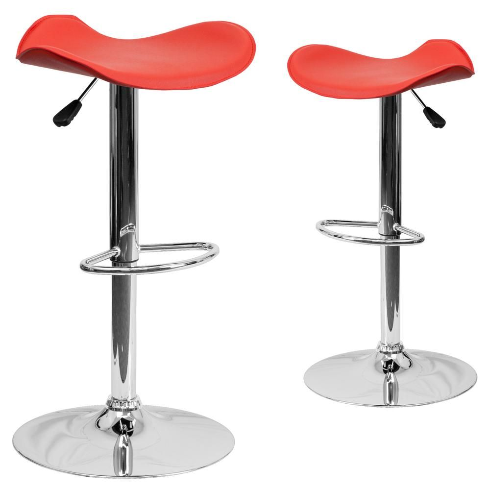 Contemporary Red Plastic Adjustable Height Bar Stool with Chrome Base