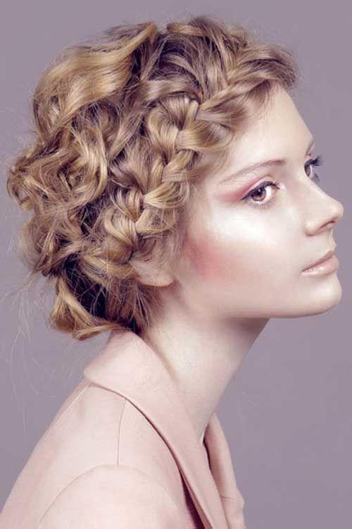 Easy Braided Short Hairstyles For Curly Hair Geflochtene Frisuren Frisuren Fur Lockiges Haar Kurze Lockige Haare Frisuren