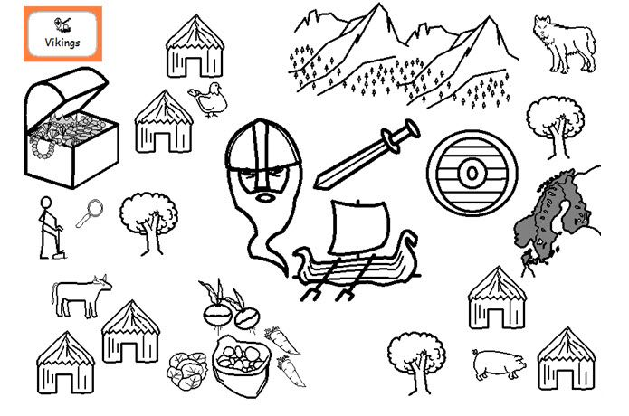 A detailed colouring sheet on the topic of the Vikings