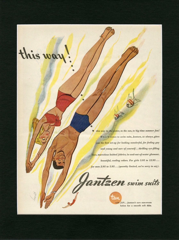 MATTED 1945 Jantzen Vintage Ad ~ Earl Hurst Illustrated Art ~ Retro ...