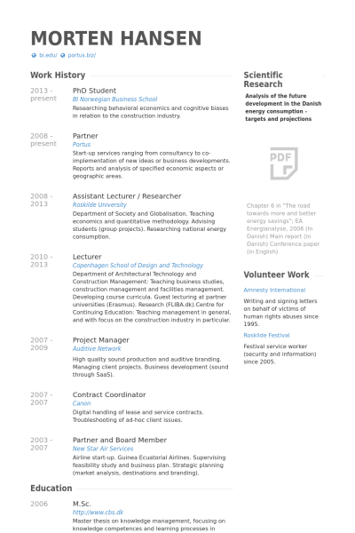 Incroyable Phd Student Resume Example