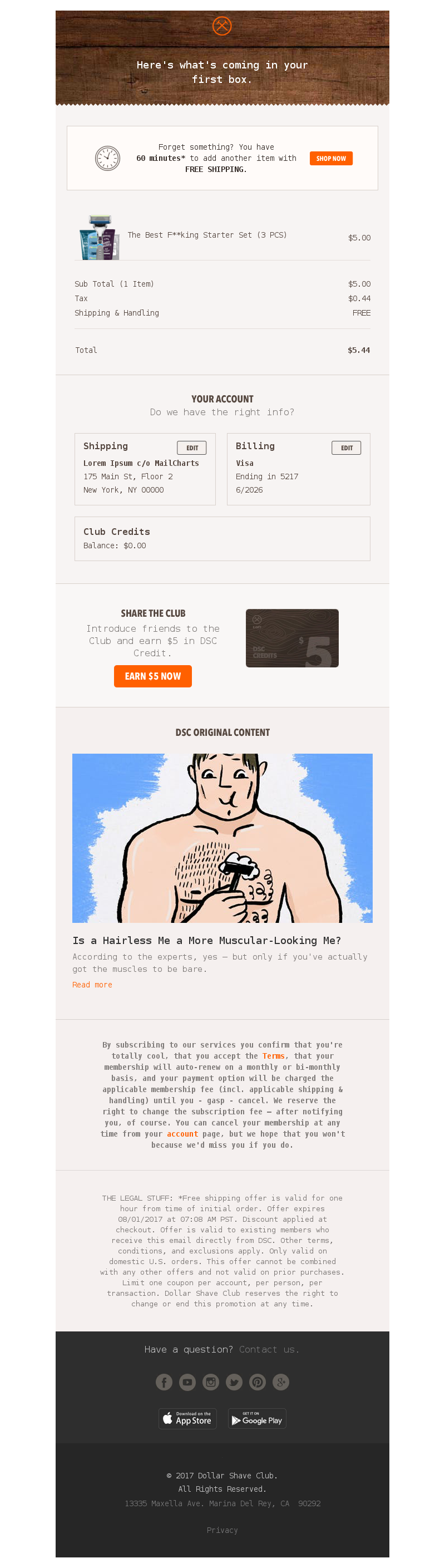 Dollar Shave Club Order Confirmation Email Dollar Shave Club Email Newsletter Design Newsletter Design