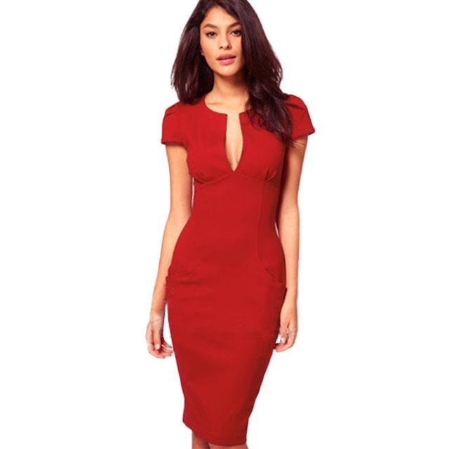 08dfb9b4f17 Summer Charming Sexy Pencil Dress Celebrity Style Fashion Pockets Knee-length  Bodycon Slim Business Sheath Party Dress E521