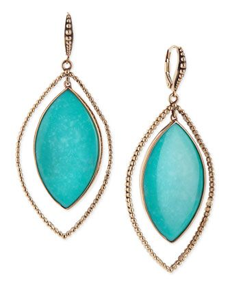 1319917c5 Nouveau Beaded Turquoise Marquis Earrings by Stephen Dweck at Neiman Marcus.
