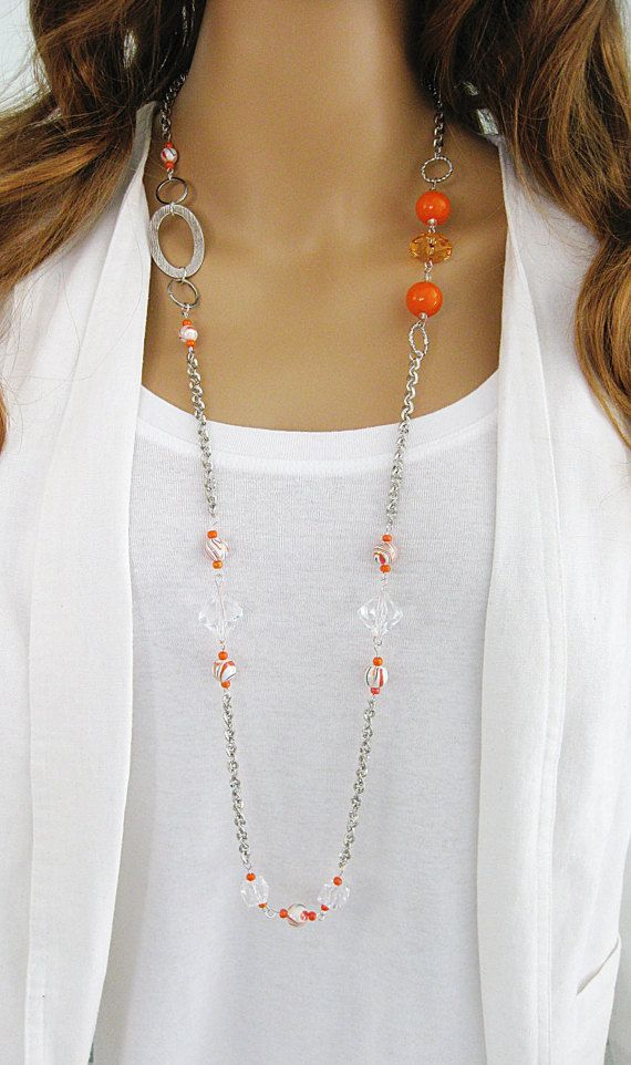 Long Beaded Necklace, Orange Necklace, Silver Chain Necklace, Orange Beaded Necklace, Orange Beaded, Long Beaded, Long Orange Necklace