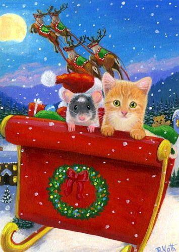 kitten cat mouse santa sleigh reindeer christmas winter moon oe aceo print art
