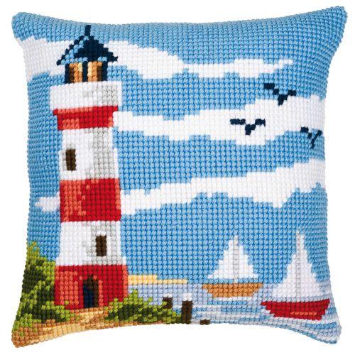 Lighthouse Beach Chunky CrossStitch Cushion Kit Printed Tapestry Canvas Cushion