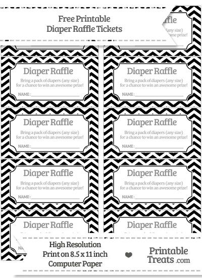 Free Black Chevron Diaper Raffle Tickets Baby Jaxonu0027s Baby - free event ticket template printable