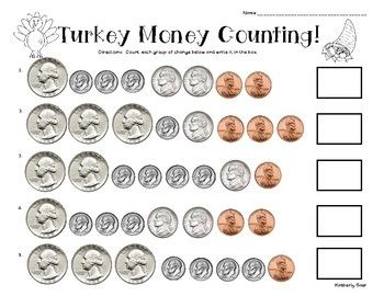 Thanksgiving Turkey Counting Money Practice Worksheet | 4 ...