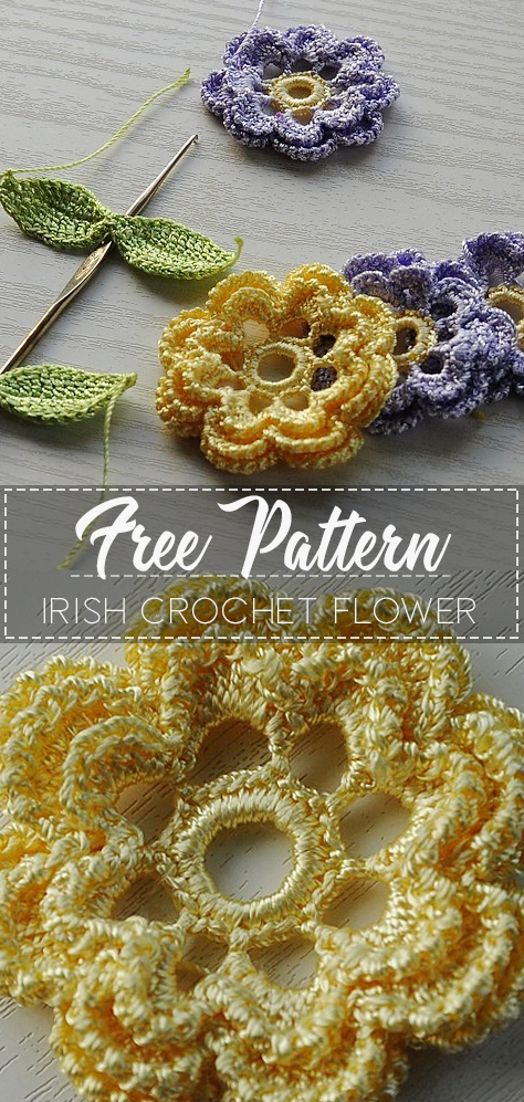 Irish Crochet Flower – Pattern Free – Easy Crochet #irishcrochetflowers
