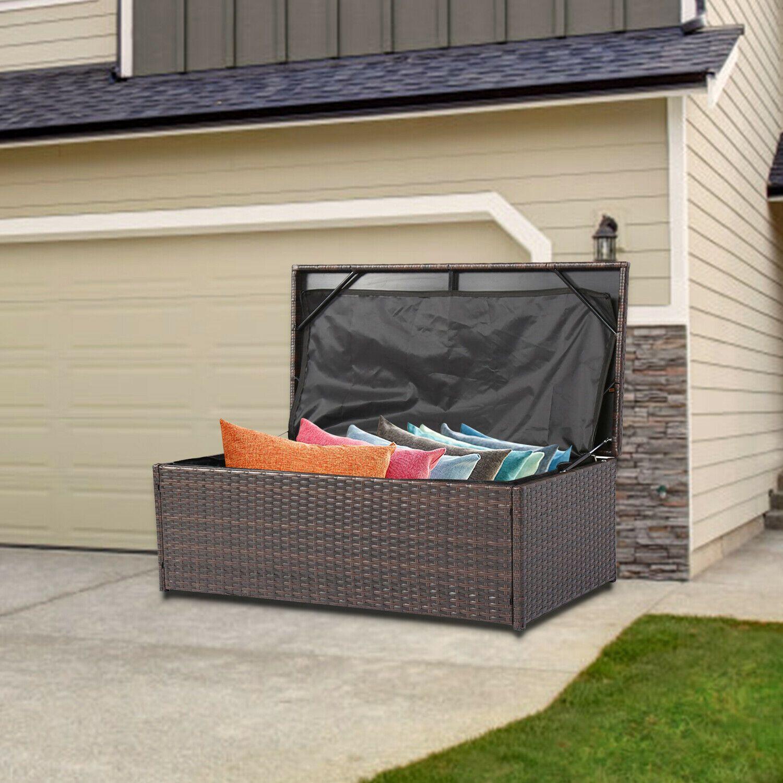 Details About Wicker Outdoor Patio Garden Storage Bench Bin Deck
