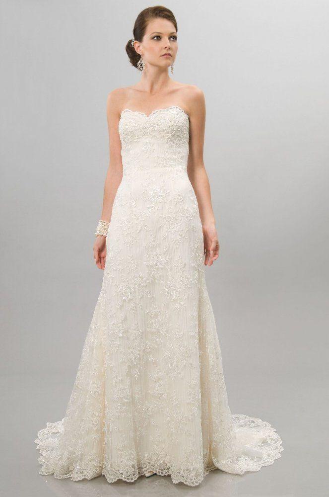 Fit & Flare Sweetheart Scalloped Hemline Lace Wedding Dress-wf0001 ...