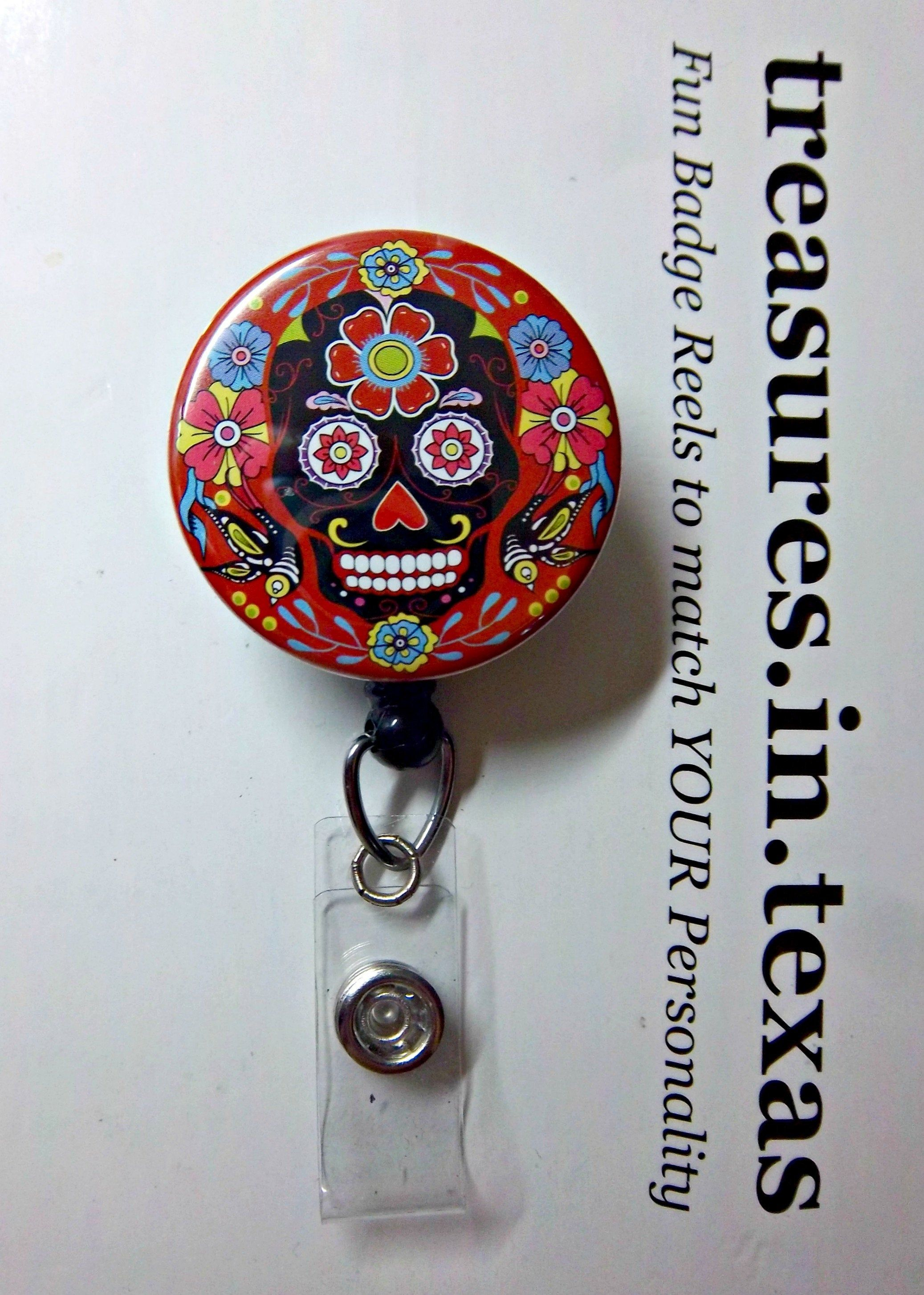 day of the dead celebration ~ Retractable Reel ID Badge White Sugar Skull on Black with Flowers, dia de los muertos you pick style