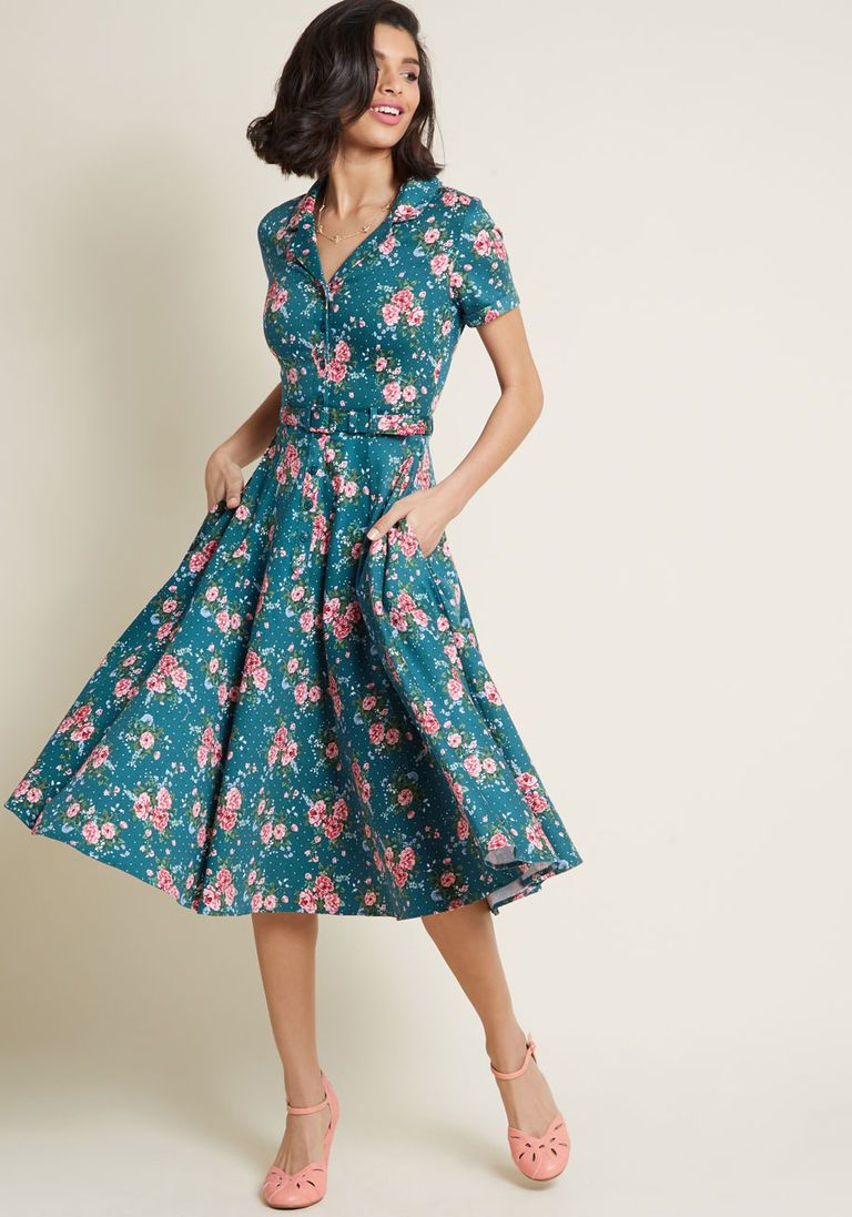 e67ed416ab91 Vintage 50s Dresses  8 Classic Retro Styles Collectif x MC Cherished Era Shirt  Dress Floral Dot in 28 UK - Short Sleeve Midi by Collectif from ModCloth ...