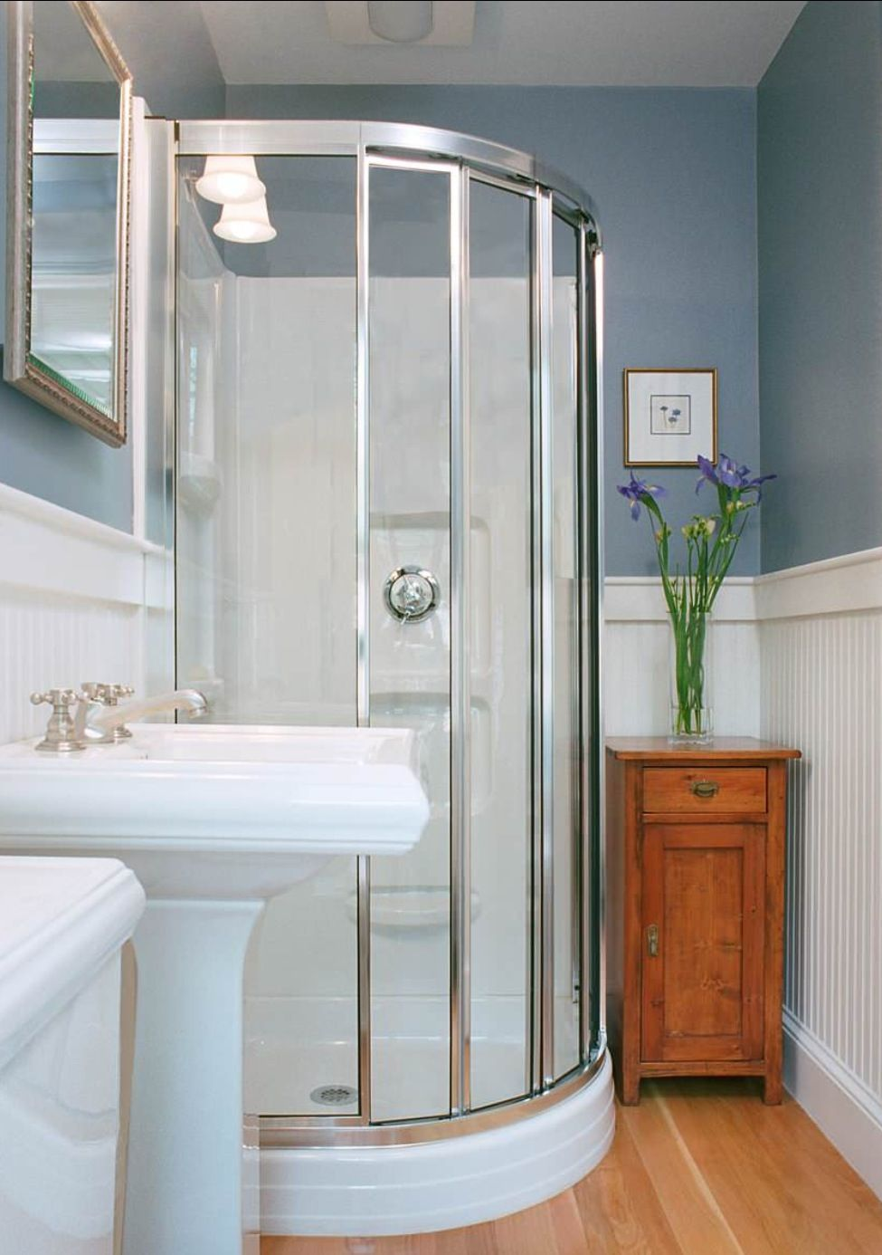 Simple bathroom. wood floor. prefab shower, but it looks ... on Nice Bathroom Designs For Small Spaces  id=70917
