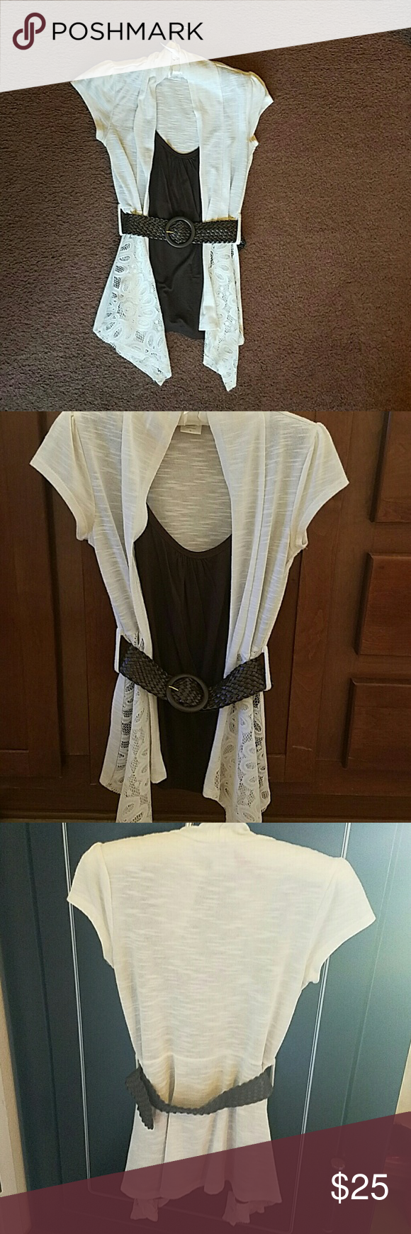 Professional and fun one piece top plus belt Cute comfortable and airy. This top is easy to dress up or down. Size size extra small but fits a size small well. Cream colored cardigan with lave on front, dark brown tank style underneath and braided belt. Bought from kohls in the juniors professional department. Tops