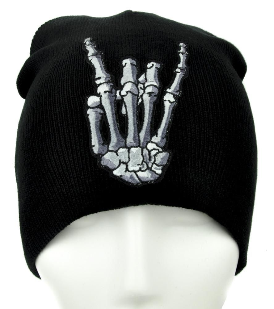 Skeleton Horns Up Heavy Metal Sign Beanie Alternative Clothing Knit Cap Death