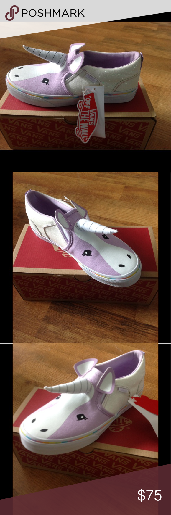 e4f825b151 Kids Unicorn Asher Vans Kids size 4.5 ( or Women s 6.5) slip on Asher  Unicorn Vans. These are sold out everywhere! Super hard to find! Vans Shoes  Sneakers