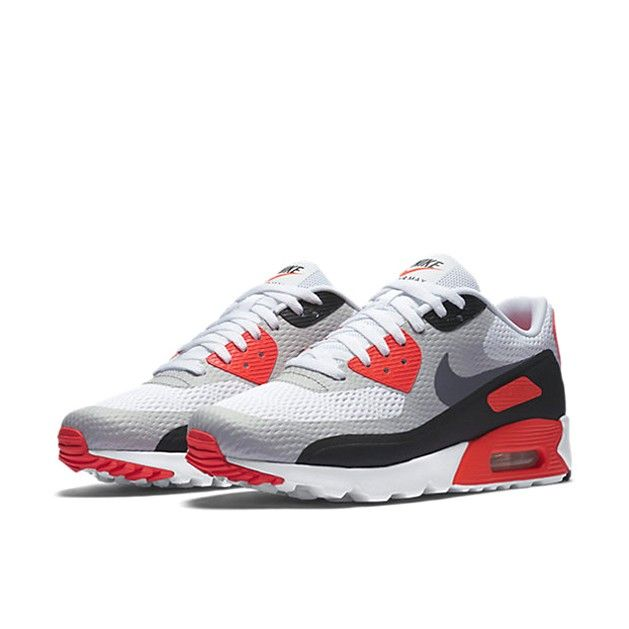 big sale 83cb5 2ec39 ... Nike Air Max 90 Ultra Essential Herre Trainers Hvid InfraRød Sort Cool  grå