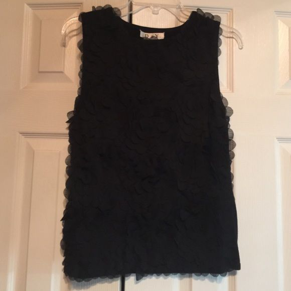 Black tank top- flower detail Perfect condition. 68% viscose, 26% nylon, 6% spandex. D & Y Tops Tank Tops