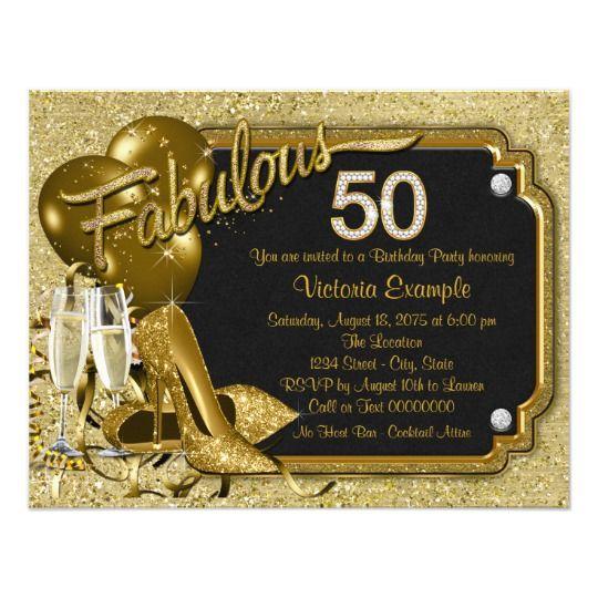 Invitación Fiesta Del Cumpleaños Fabulosa 50 De La Mujer