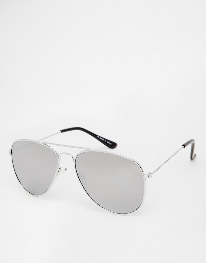 Cool ASOS Silver Aviator Sunglasses with Mirrored Lens - Silver ASOS Aviator til Herrer til hverdag og til fest