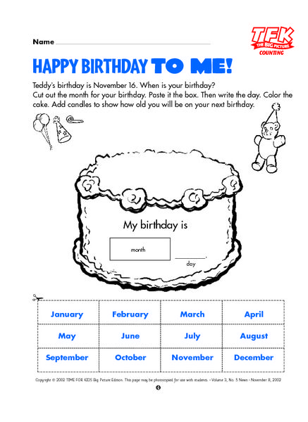 Happy Birthday to Me! 2nd Grade Lesson Plan | Lesson Planet | School ...