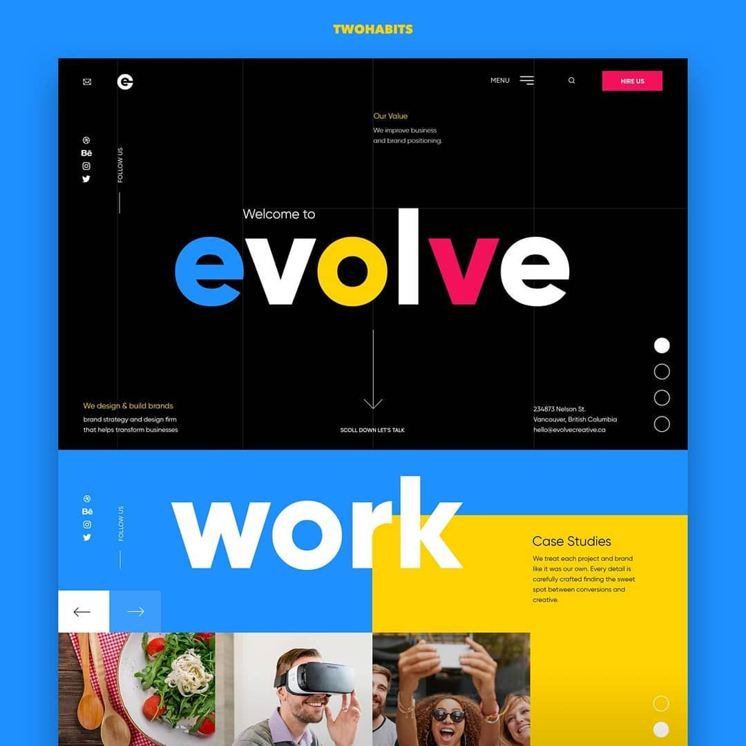 Evolve Creative Design By Creativeinvention Ca Using Three Different Vibrant Colours To Define Unique Web Design Agency Website Design Unique Website Design