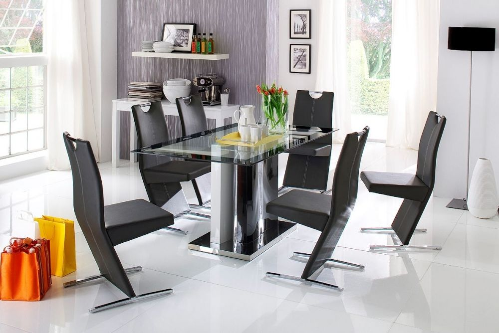 IRENA Esstisch Hochglanz schwarz/weiß mit Glasplatte