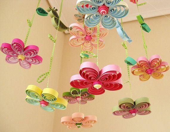 Baby-Mobile - Krippe Mobile - Baby Kinderzimmer Mobile - Blume Handy - Mobile - Baby-Mädchen-Mobiles - Vögel in Rainbow Garden 8A Krause #visitgreece