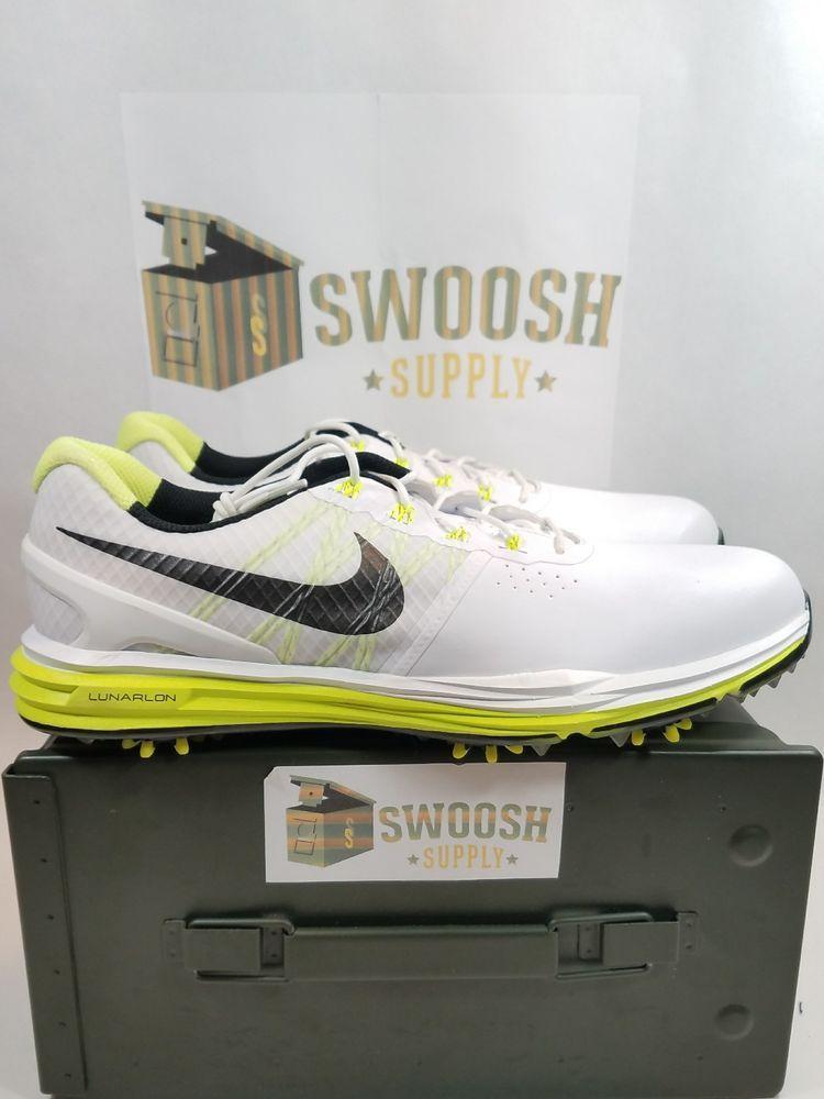 bdf03aa9b25a Nike Lunar Control 3 Mens Golf Shoes 704665-102 White Black Volt Size 11.5   Nike