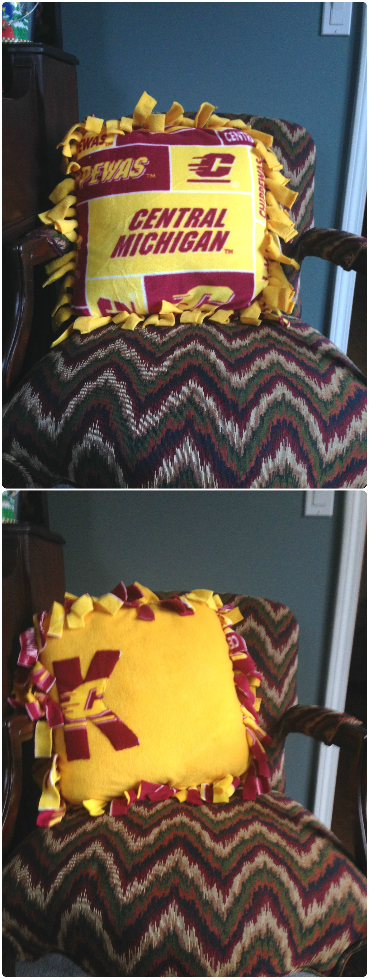 CMU fleece tie pillow and no sew pillow. Central Michigan