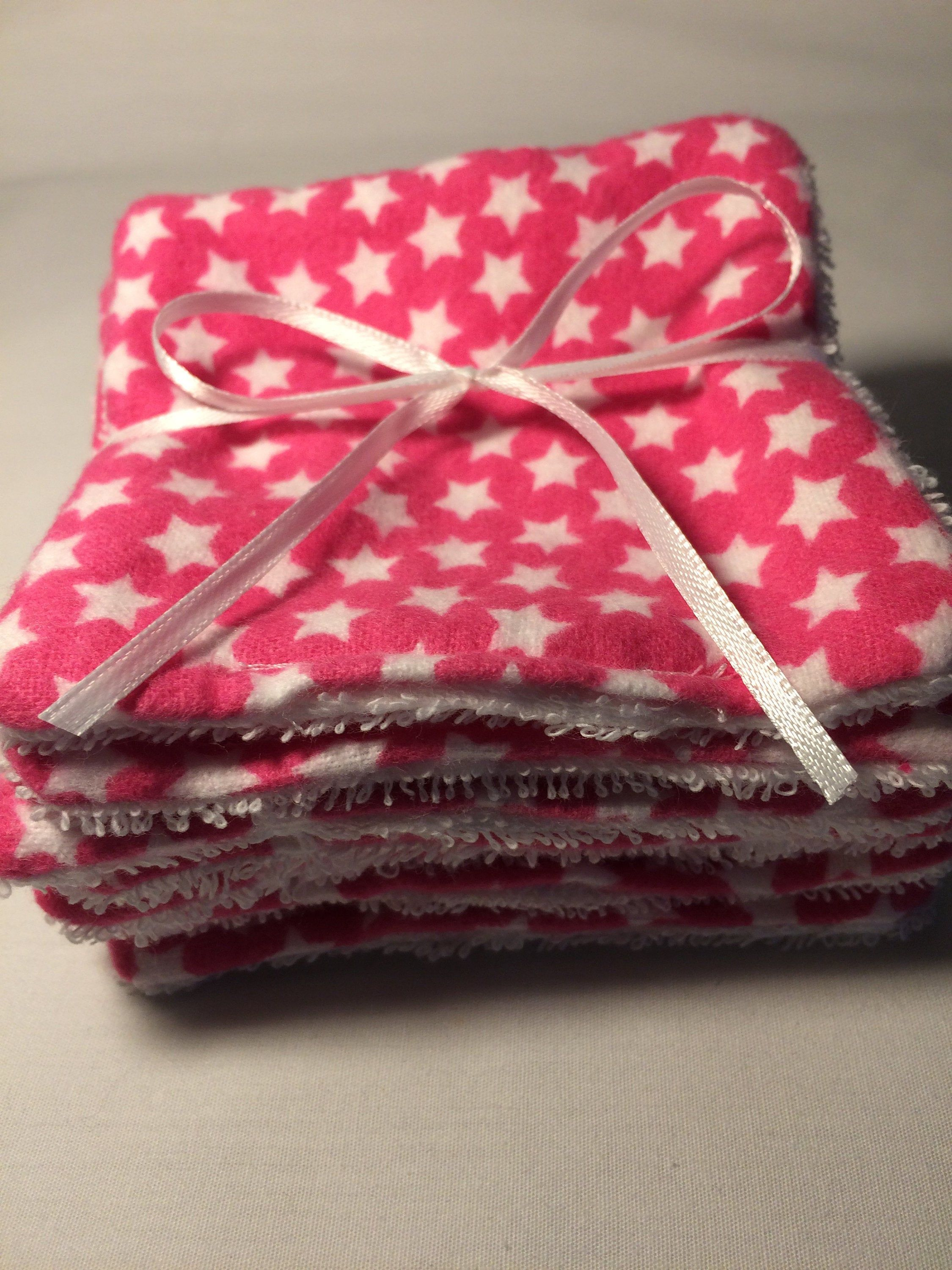 Reusable Face Wipes Pink Flannel With White Stars and