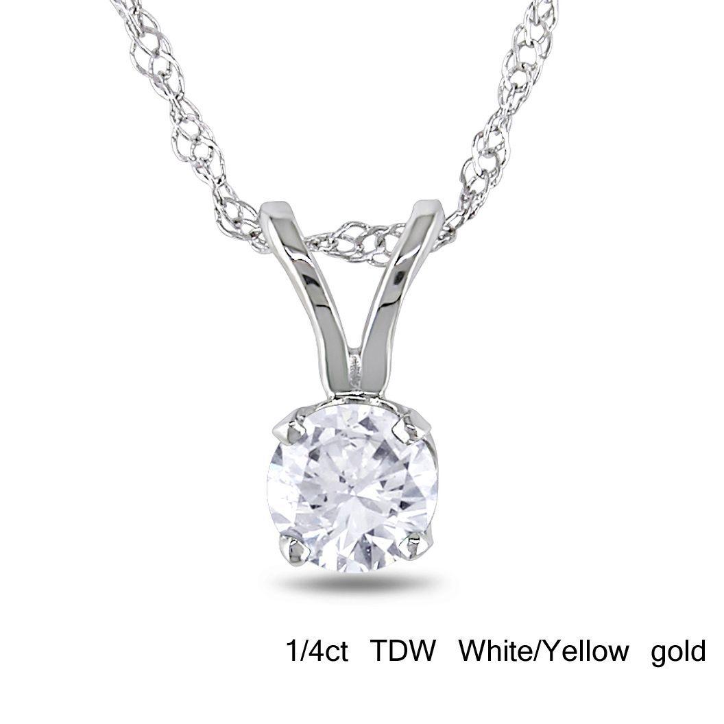 Miadora 14k or Yellow Gold Diamond Solitaire Necklace