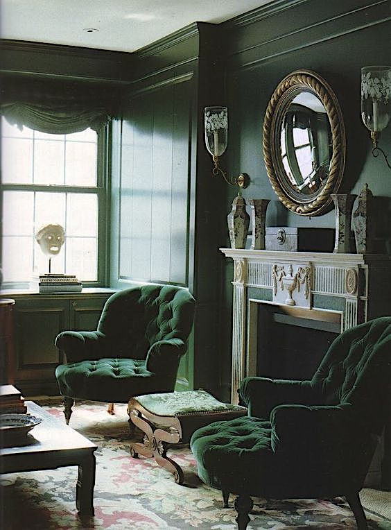 15 Compelling Contemporary Exterior Designs Of Luxury Homes You Ll Love: Green Monotone Sitting Room #decorating #Dark #walls #moody #richwallcolor #masculine