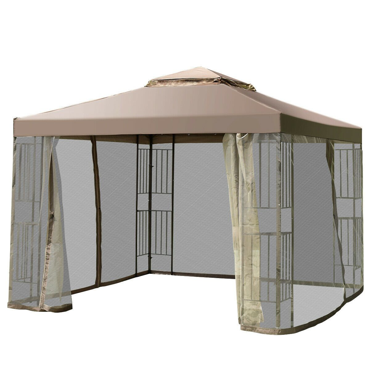2 Tier 10x10 Gazebo Canopy Shelter Awning Tent Outdoor W Netting Screw Free 158 95 Gazebo Ideas Of Gazebo Gazebo Canopy Tent Gazebo Canopy Tent Awning