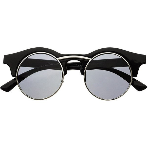 Round Unisex Retro Steampunk Fashion Sunglasses R3250 ($5) ❤ liked on Polyvore featuring accessories, eyewear, sunglasses, glasses, fillers, unisex sunglasses, round frame glasses, rounded glasses, half frame sunglasses and keyhole glasses