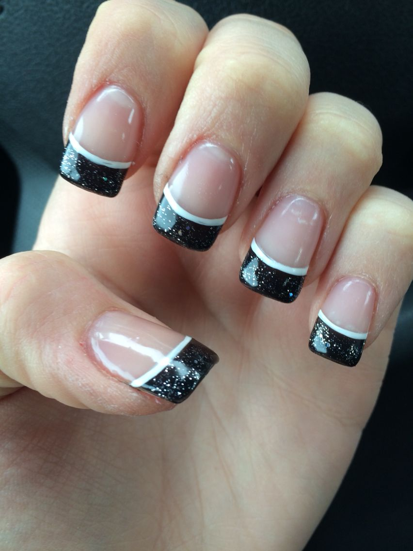 Acrylic Black Sparkle French Tip With White Accent Line White Tip Acrylic Nails White Tip Nails Nails